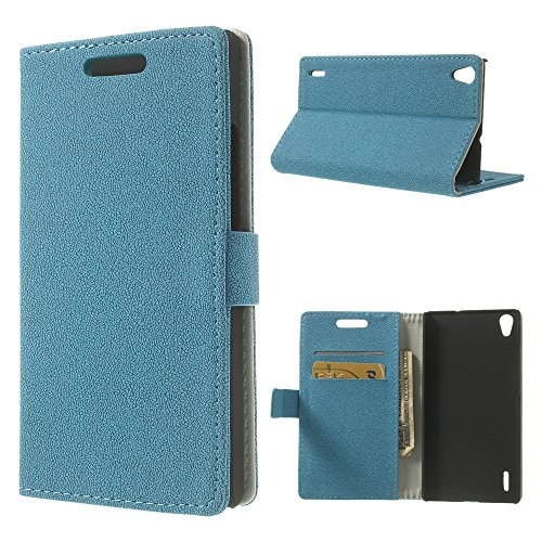 Blue Gravel Grain Magnetic Leather Card Holder Case for Huawei Ascend P7