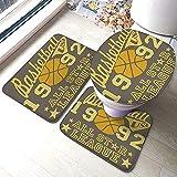 Kcmical Alfombrilla de baño Juego de 3 Piezas Alfombra Absorbente Baloncesto All Star League Insignia Apliques L Almohadillas Antideslizantes Alfombrilla de baño