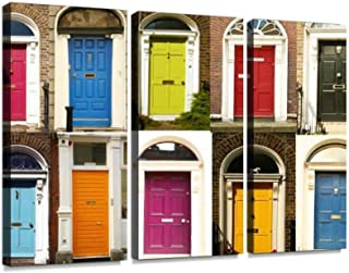 YKing1 Dublin's Doors Wall Art Painting Pictures Print On Canvas Stretched & Framed Artworks Modern Hanging Posters Home Decor 3PANEL