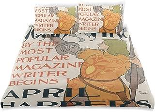 CHASOEA Duvet Cover Set Poster Harpers Magazine Showing Joan Arc Decorative 3 Piece Bedding Set with 2 Pillow Shams Queen Size