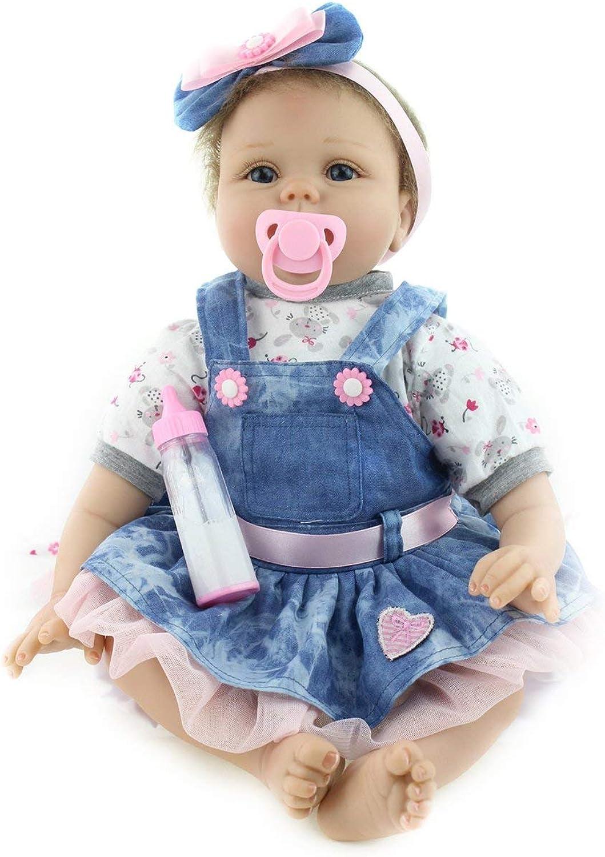 55CM autoino Reborn bambino Denim Dress bambola Silicone Realistico nuovoborn bambola Girl Miglior Regalo di Natale di Compleanno per Bambini Ragazze (Coloreee  Blu Denim e Coloreee della Pelle)