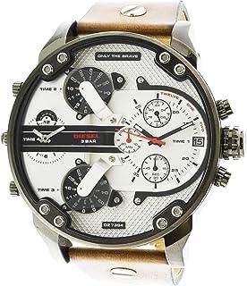 Diesel Men's White Dial Leather Band Watch - DZ7394