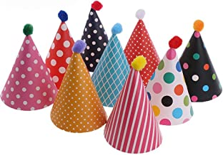 11 Stücke Partyhüte,Party Kegel Hüte mit Pom Poms,Schöne Kuchen Kegel Geburtstag Papier Hüte, schöne Krone, für Kinder und Erwachsene, Spaß Geburtstag Party Hüte