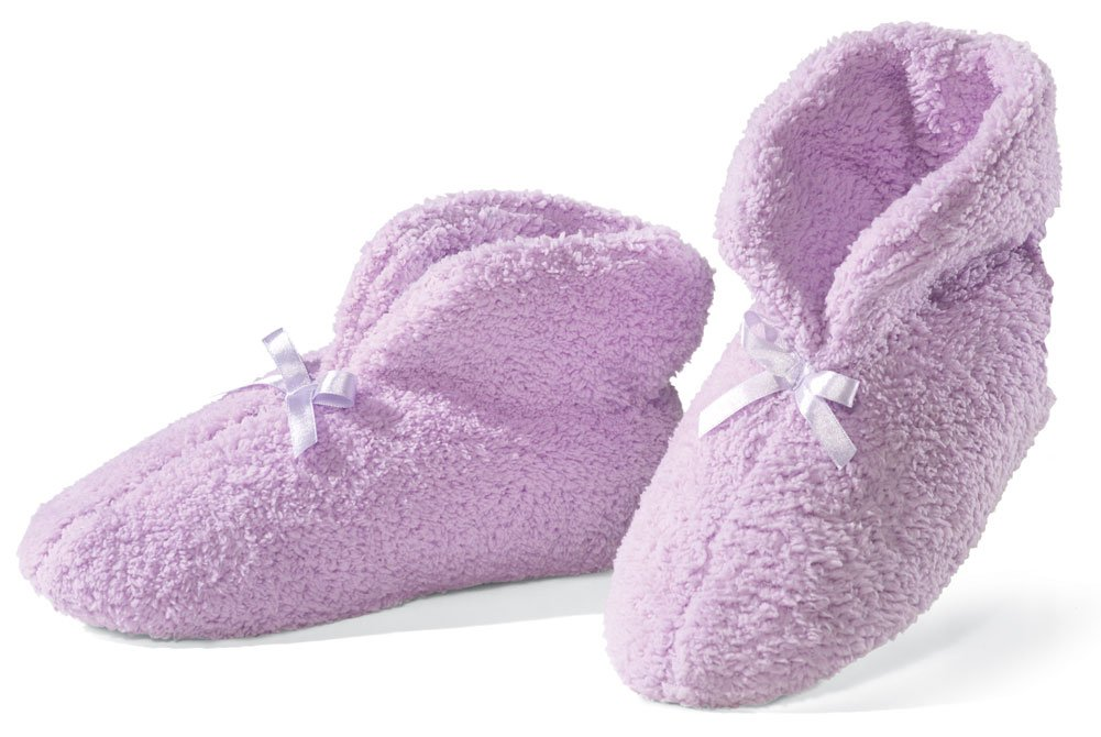 Image of Lilac Chenille Women's Bootie Slippers with Bow - See More Colors