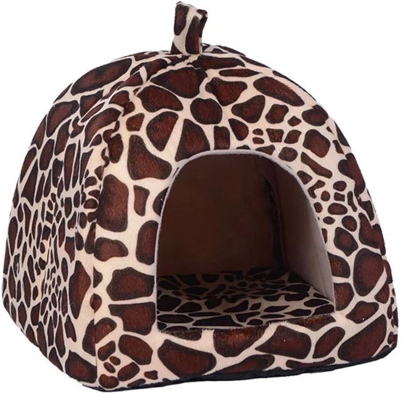 Cute Soft Sponge SFNet White Dots Strawberry Pet Cat Dog House Bed With Warm Plush Pad (XXL, Leopaed)