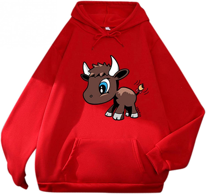 Cute Hoodies for Teen Girls Trendy Aesthetic Cow Print Pullover Crewneck Sweatshirts Casual Drawstring Hoodies Pocket