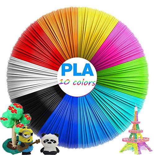 VABOO PLA Filament 1.75mm, Filamento Penna 3D 10 Colori Filamenti PLA 5M 3D Filament PLA per stampante 3D e penna 3D, 3D Pen Filament per Bambini, Adulti