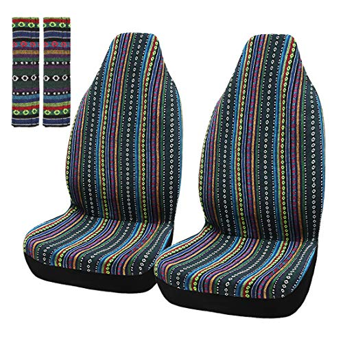 X AUTOHAUX 2 Pcs Green Universal Front Seat Cover Saddle Blanket Bucket Seat Cover with Seat-Belt Pad Protectors for Car Truck