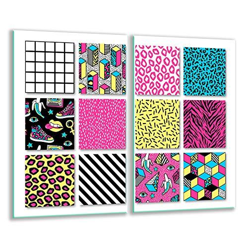 TMK | 2 placas para cubrir la vitrocerámica de 2 piezas de 30 x 52 cm, para cocina eléctrica, inducción, protección contra salpicaduras, tabla de cortar | mosaico