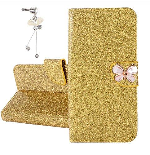 Xifanzi Glitzer PU Ledertasche für DOOGEE Y6C Glänzende Einfarbig Lederhülle Luxus Flip Cover Hülle Schmetterling Magnetclip Design Tasche Folio für [DOOGEE Y6C] Gold + 1X dust Plug