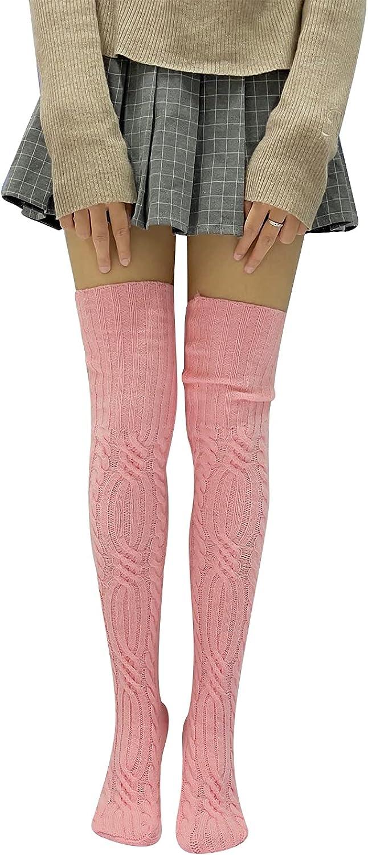 Women's Winter Over Knee Thigh High Woolen Socks Knitted Warm Long Leg Warmers
