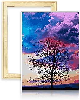 decalmile Pintura por Número de Kits DIY Pintura al óleo para Adultos Niños Oscuro Nubes Árbol 16
