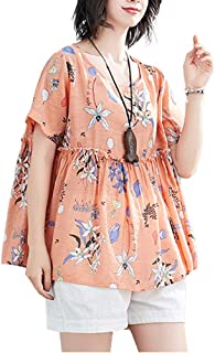 Women Retro Loose Blouse Floral Dot Printed Short Sleeves Pleated A-line Flared Elegant Holiday Casual Tops