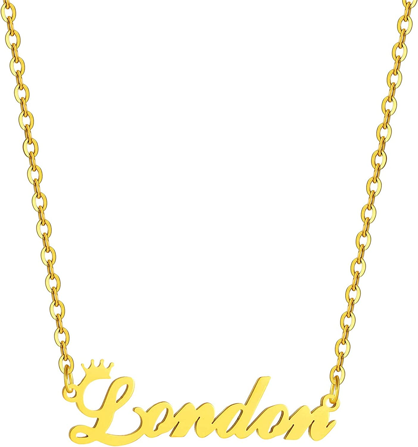 SKQIR Gold Custom Women Name Necklace Personalized,Customized Chains Name Pendants Necklaces Personalized Name Necklace with Crown for Women Girl Gift