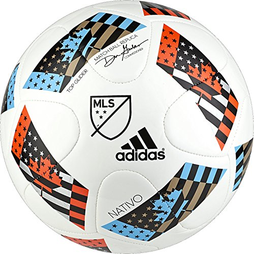 adidas Performance 2016 MLS Top Glider Soccer Ball, White/Shock Blue/Black, Size 5