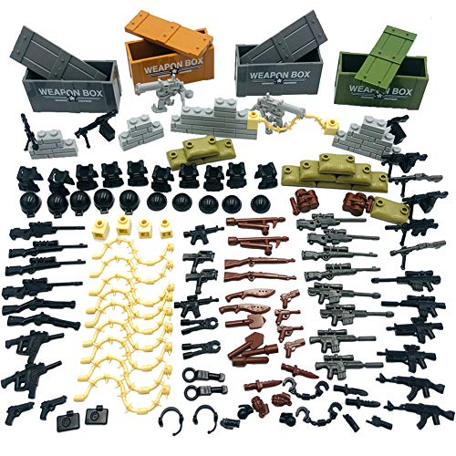 Taken All Custom Military Army Weapons and Accessories Set Compatible Major Brands ,Accessories - Hats, Weapons, Tools, Modern Assault Pack Military Building Blocks Toy (Original Version) (Fate Undiscovered Realms Best Weapons)