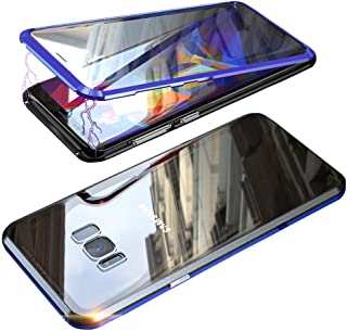 UMTITI Compatible Samsung Galaxy S8 Case, Full Body with Built-in Screen Protector Magnetic Clear Double-Sided Tempered Glass Cover with a Screen Cleaning Paper (Black-Blue)