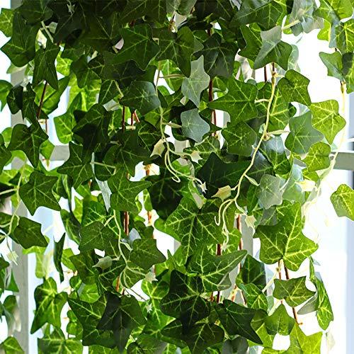 Plantas Hiedra Artificial (24pcsx2.2m) Hiedra Hojas de Vid Artificial Enredadera Guirnalda Decorativa para Decoración Hogar Escalera Ventana Balcón Valla Jardín Boda Mesa Fiesta Interior y Exterior