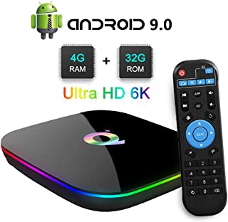 Q Plus Android TV Box, TUREWELL Android 9.0 TV Box Chip H6 Quad-core Cortex-A53 4GB RAM 32 GB ROM Smart TV Box Support 3D 6K Ultra HD H.265 2.4GHz WiFi Ethernet HDMI Output【2019 Newest】