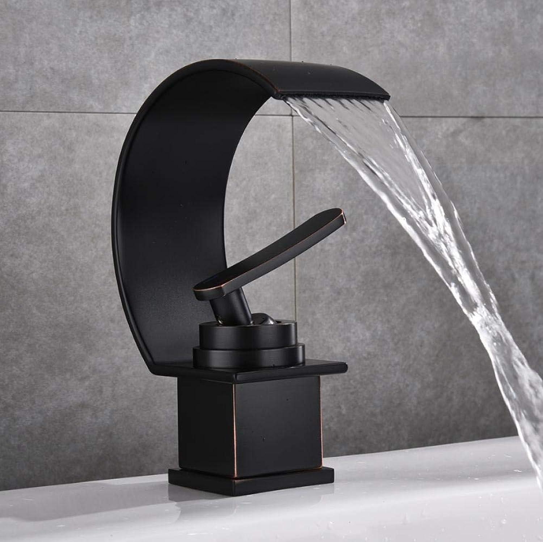 Wasserhahn Becken Wasserhahn Wasserfall Mit Gebürstetem Badezimmer Waschbecken Wasserhahn Kalt- Und Warmwassermischer Einhand-Badezimmer