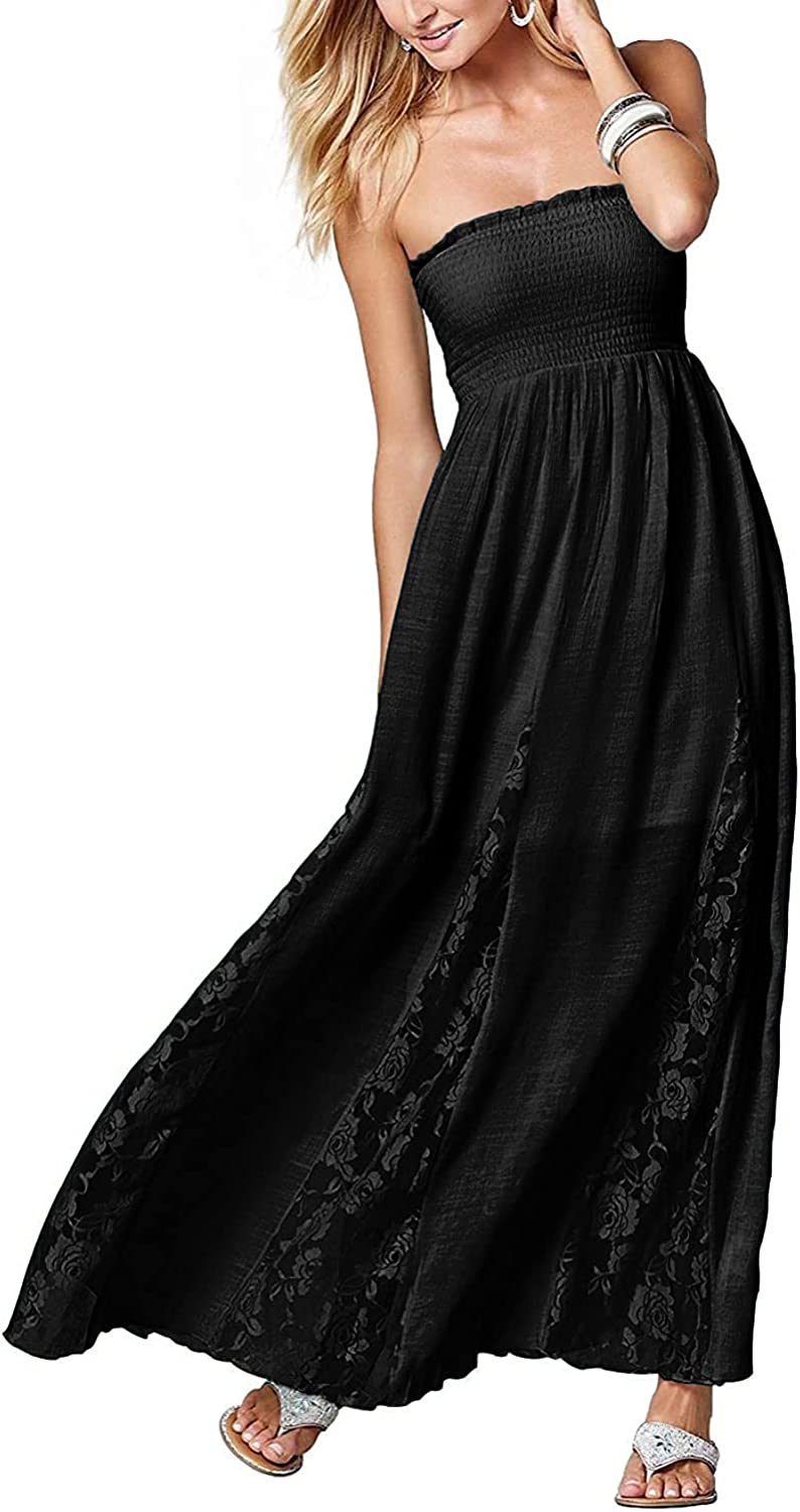Jusfitsu Women Popular shop is the lowest price challenge Maxi Dresses Tube Dress Long Ranking TOP11 Strapless Summer Top