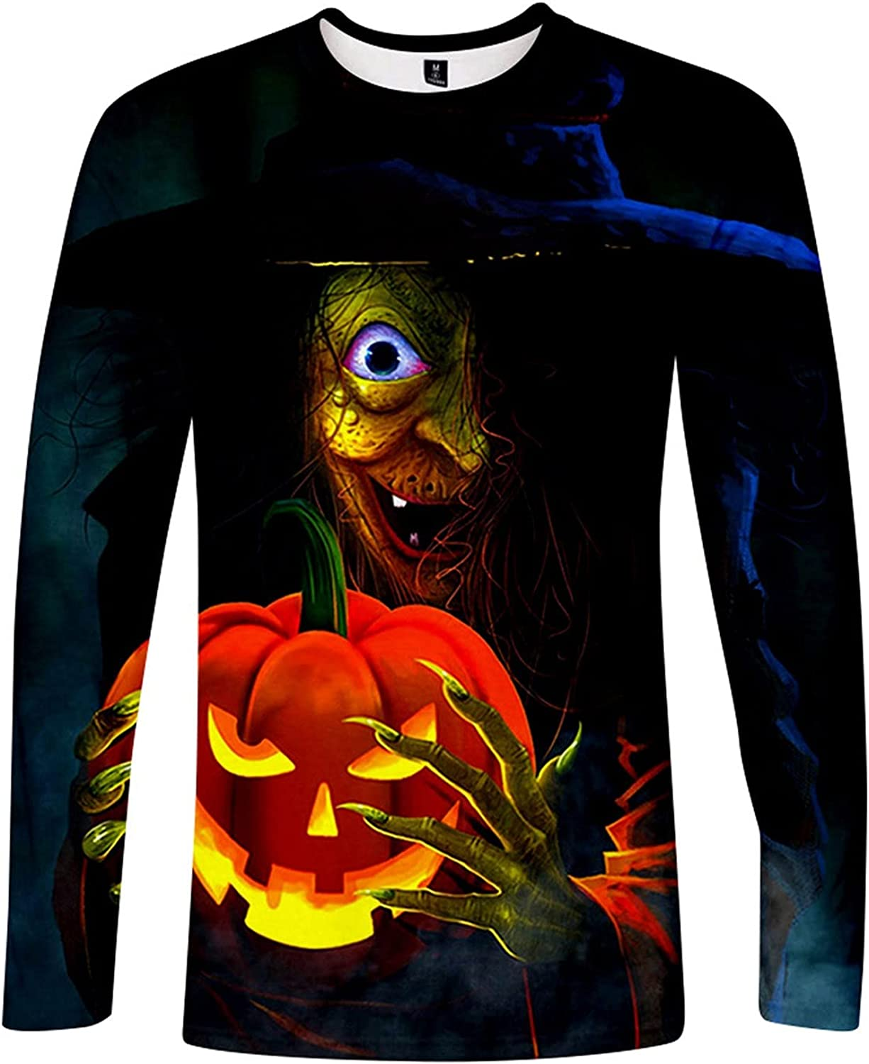 Men's Pullover Tops Halloween 3D Printed Pumpkin Casual Ghoust Horror Long Sleeve Blouse,Graffiti Graphic Blouse