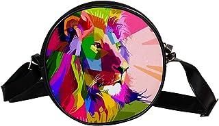 Coosun Umhängetasche mit Tiermotiv, bunte Dekoration, Löwe, rund, Schultertasche für Kinder und Damen