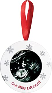 """Pearhead """"Our Little Present"""" Baby Sonogram Picture Frame Holiday Ornament, Perfect New Baby Gift for Parents to Be"""