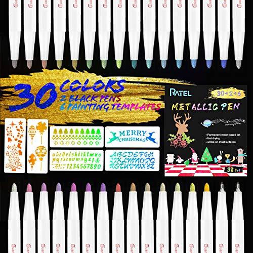 RATEL Acrylstifte Marker Stifte, 30 Farben Wasserfeste Stifte Metallic Marker Permanent Schnelltrocknend Premium Metallischen Pens mit 2 Liner Black Pen, 6 Malvorlagen für DIY Fotoalbum,Stein,Keramik