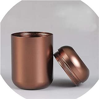 80 Ml Mini Aluminum Straight Tea Can Storage Box Small Travel Sealed Portable Tea Coffee Container Small Jar Tea Caddy Organizer,Brown