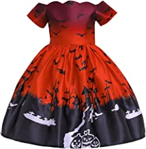 RONSHIN Girl Kids Costume Cartoon Pattern Printing Full Dress for Festival Stage Costume WS005-red 100cm Halloween Decoration