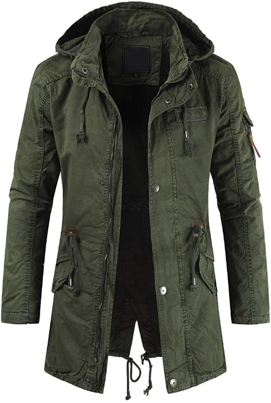 chouyatou Men's Spring Military Full-Zip Removable Hooded Cotton Mid-Long Parka Jacket Coat at  Men's Clothing store