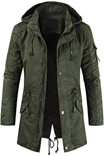 chouyatou Men's Spring Military Full-Zip Removable Hooded Cotton Mid-Long Parka Jacket Coat