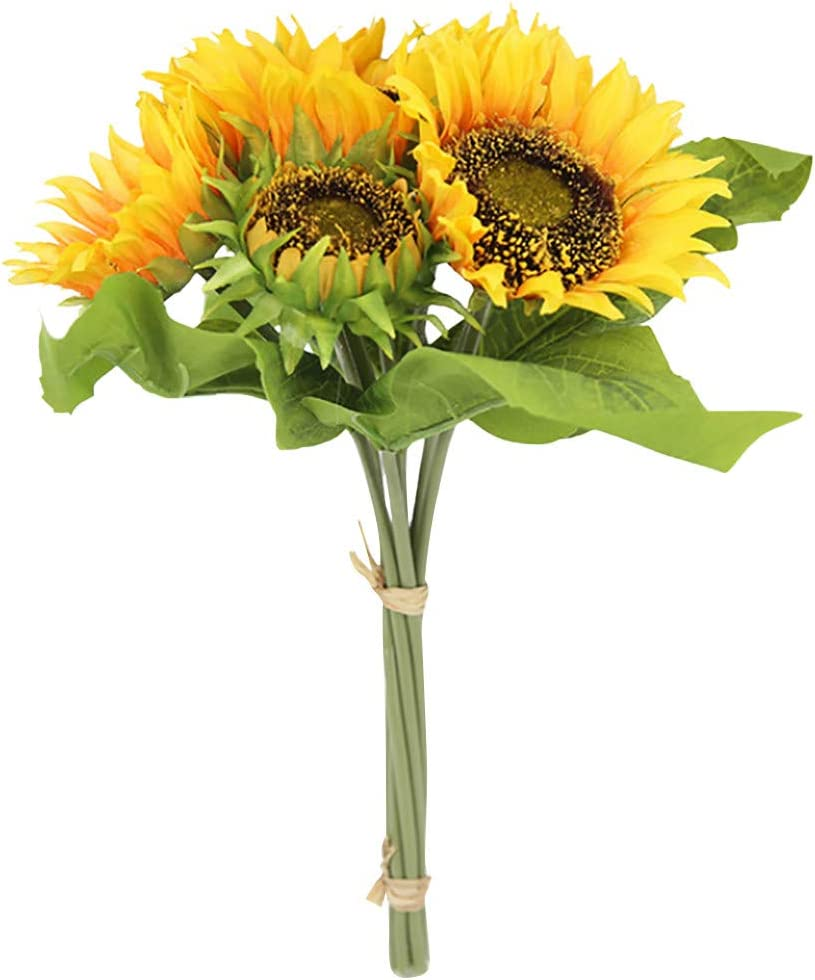 YeLukk Artificial Flowers For Spasm price Decoration Sunflowers Fake Bouquet discount