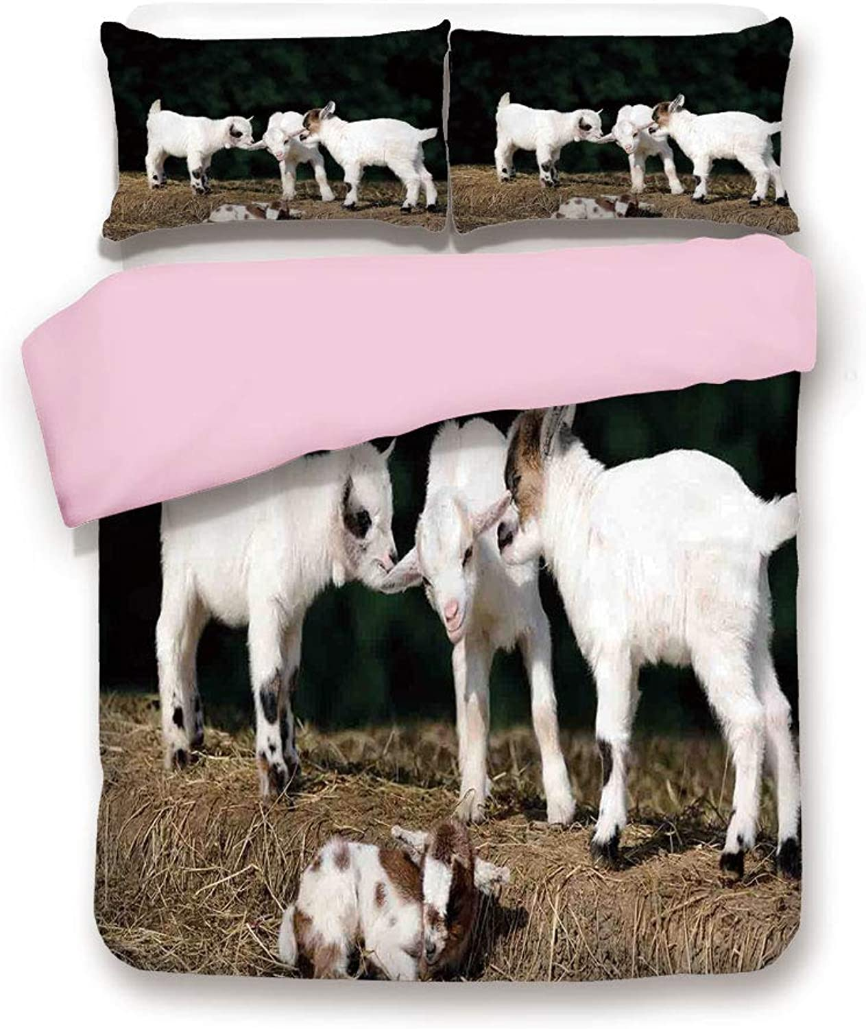 Pink Duvet Cover Set& xFF0F;Queen Size& xFF0F;Cute Adorable Baby Sibling Goats playing Eachother on a Solid Rock in a Farm& xFF0F;Decorative 3 Piece Bedding Set with 2 Pillow Sham& xFF0F;Best Gift For Girls Women& xFF0F;White and Brown