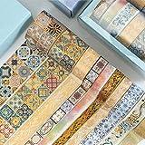 Mystes Linda Cinta washi Van Gogh Washi Tape Dorado Papel de Enmascarador Decorativo Cinta Bricolaje Pegatina Scrapbook Diario Label Papelería de la Escuela (10 Piezas) Juegos de Cintas