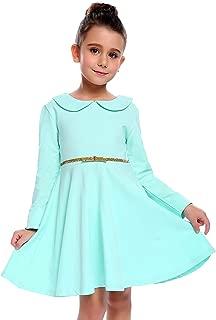 Little Girls Dresses Short Sleeve Doll Collar Swing Party Dress
