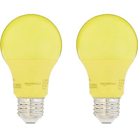 Amazon Basics 60 Watt Equivalent, Non-Dimmable, A19 LED Light Bulb | Yellow, 2-Pack