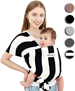 ACRABROS Baby Wrap Carrier,Hands Free Baby Carrier Wrap Sling,Stretch Cotton,Lightweight,Breathable,Perfect for Newborn Infants and Babies Shower Gift,Black/White 1.5 inch Stripe
