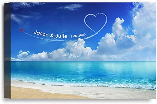 "IPIC - ""Seaside Skywriting Personalized Wall Art with Names, Perfect for Couple, Customized Canvas for Wedding Annive..."
