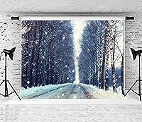 写真撮影のためのHD7x5ft冬の雪の背景冬の森の写真撮影の背景