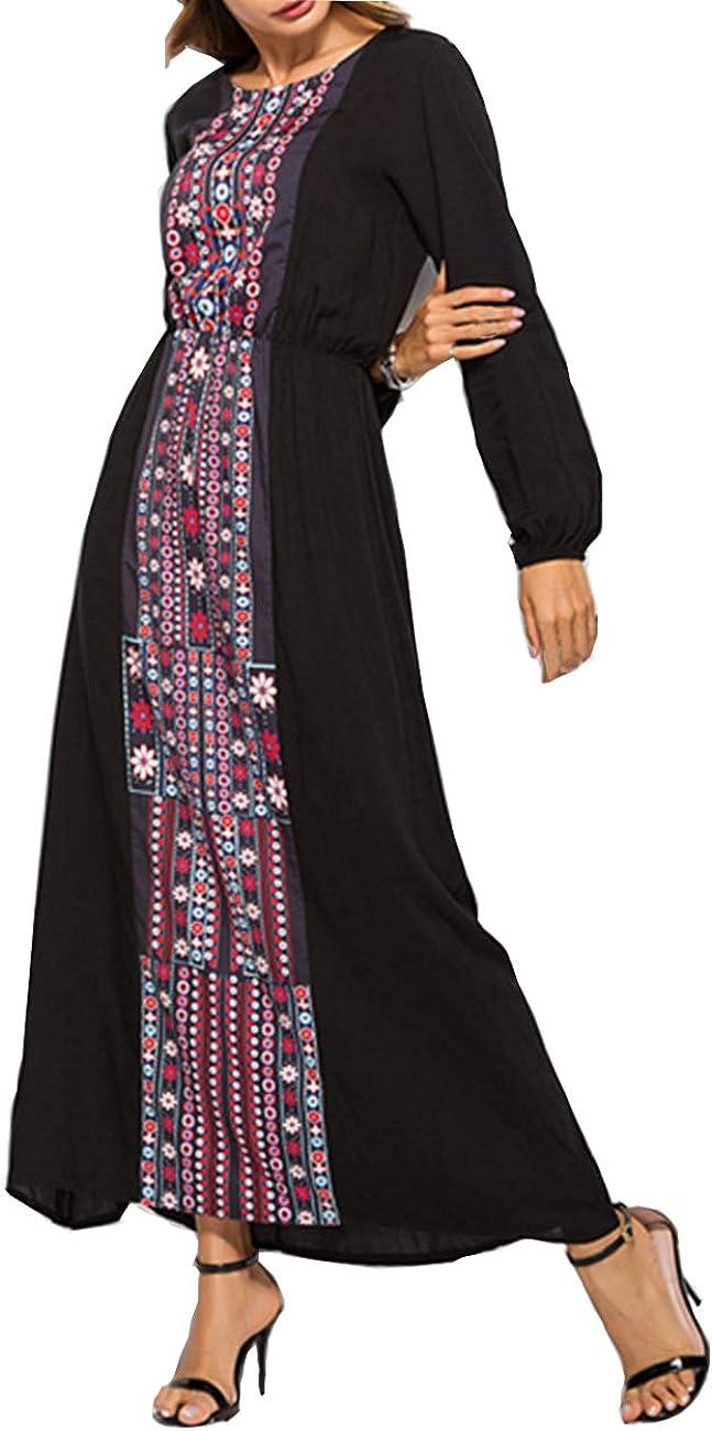 Abaya Musulmana Vestidos Maxi Mujer Kaftan Manga Larga Ropa Arabe Largo Algodon