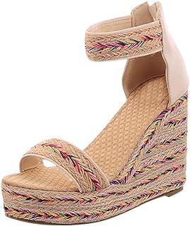 Gleamfut Womens Flats Open Toe Wedges Zipper Thick Bottom Shoes Comfortable Roman Sandals