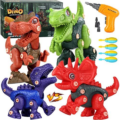 Fivejoy Dinosaurier Montage Spielzeug Set Für Kinder,4 Stück DIY Baustelle Spielzeug Mit Vorgetäuschter Elektrische Bohrmaschine, Dinosaurier Spielzeug Geschenke Für Jungen Und Mädchen