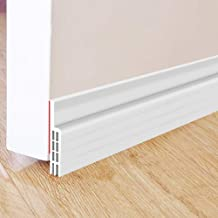 "Door Draft Stopper,Self Adhesive Strong Under Door Silicone Sweep, Weather Stripping Insulation Draft Noise Dustproof Door Bottom Seal Strip,2"" Width X 39"" Length (White)"
