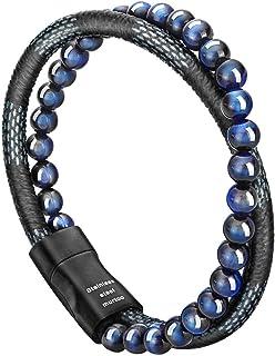 murtoo Mens Bead Leather Bracelet, Blue and Brown Bead and Leather Bracelet for Men