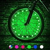 HUGEE Luz de Rueda de Bicicleta - Decoración de Eadios para Euedas De Bicicleta,Luces De Cadena De Rueda Impermeables,Visible Desde Todos Los ángulos,Aplicar Durante La Conducción Nocturna (Verde)
