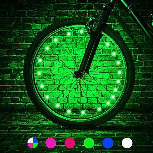 Fahrrad-Radlichter - Fahrradrad Sicherheitslicht Speichendekoration, Beleuchtung Wasserdichte Fahrradrad-Lichterkette,Aus allen Winkeln Sichtbar,Auf Fahrräder Auftragen Um nachts zu fahren (Grün)