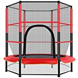 55' Mini Trampoline Kids Trampoline Adult Fitness Trampoline Outdoor Indoor Trampoline Kids Adults Sport Game Toy Red