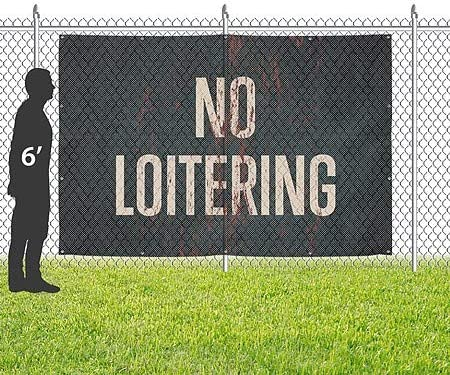 No Loitering Ghost Aged Rust Wind-Resistant Outdoor Mesh Vinyl Banner 12x8 CGSignLab